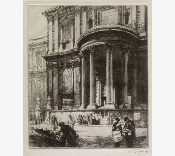 Doorway St Pauls Cathedral signed etching Pledge