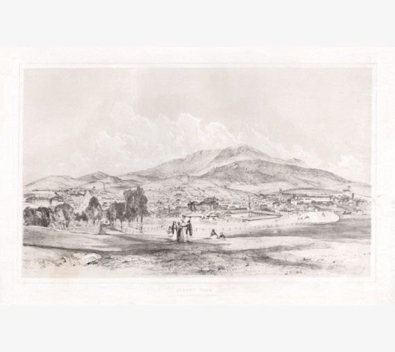 Hobart Town Government Paddock  lithograph John Skinner Prout