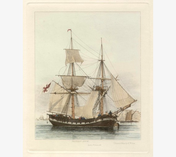 Prussian Snow Edward Cooke colour ship engraving