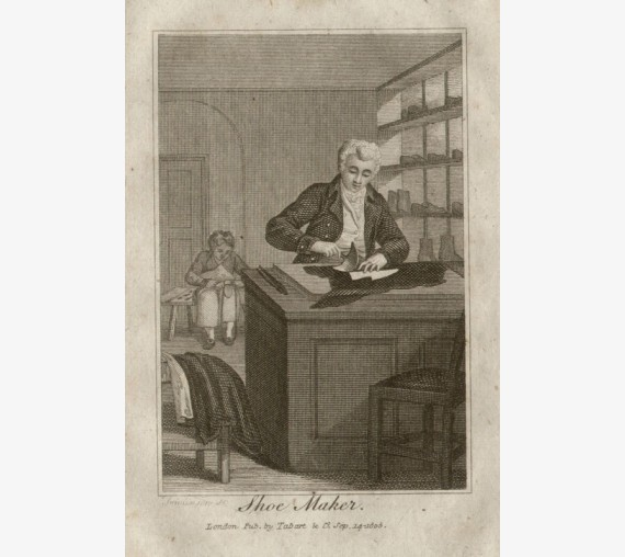 shoe maker tabart georgian fashion trade engraving cobbler