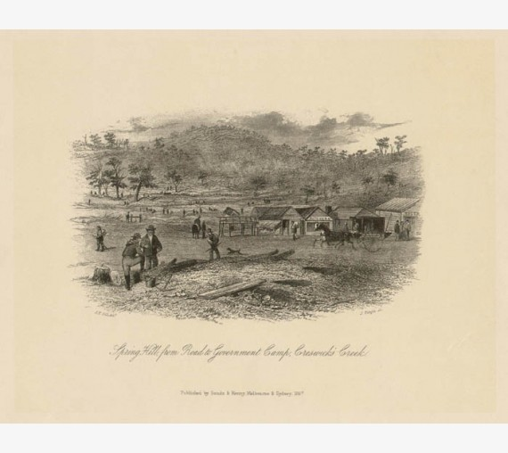 Spring Hill Government Camp Creswick Creek lithograph ST Gill