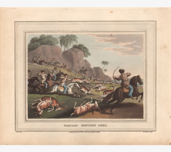 Tartars Hunting Deer Howitt aquatint antique print