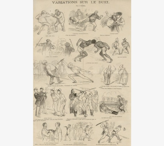 Variations sur le Duel French caricature lithograph 1891