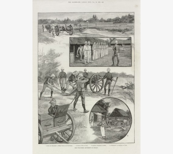 Volunteer Movement Ceylon antique engraving Sri Lanka