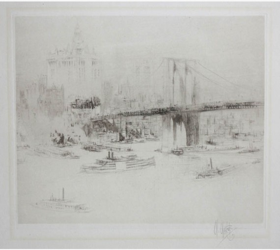 Brooklyn Bridge New York etching William Walcot