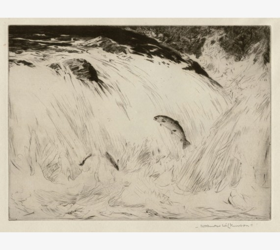angling etching Norman Wilkinson salmon