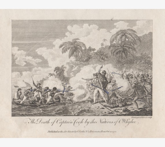 Death Captain Cook Natives Owhyhee engraving Grainger