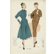 1950s french fashion design illustration