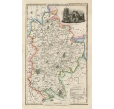 bedfordshire english county slater antique map