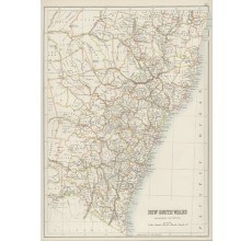 new south wales australia antique map black