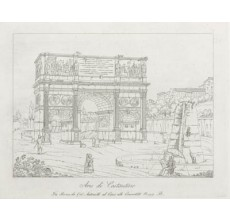 The Arch of Constantine Rome Etching Italian