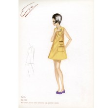 1960s italian original fashion design sketch