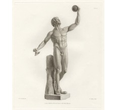 Roman statue sculpture Rondanini Faun dancing engraving Corbould