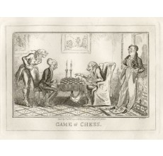Game of Chess antique etching George Cruikshank 1835