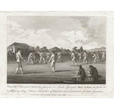Grand Cricket Match marylbone antique engraving