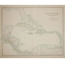 johnston west india islands central america antique map