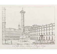 Piazza Colonna Rome Etching Italian