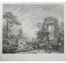 Les Bergers Romains engraving classical ruins Pierre Mettay