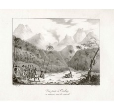 Vue prise a Ombay Freycinet Arago lithograph archery