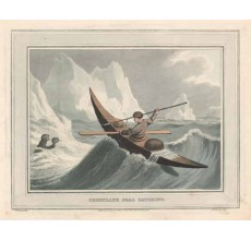 greenland seal catching antique print