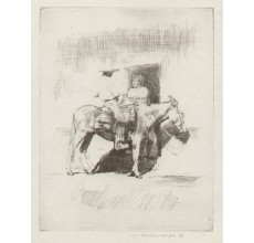 Mexican donkey Mortimer Menpes etching