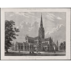 salisbury cathedral engraving print antique