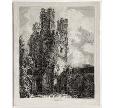 Eagle Tower Caernarvon Castle Wales George Cuitt etching