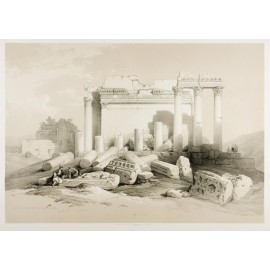 Eastern Portico Baalbec David Roberts lithograph Holy Land