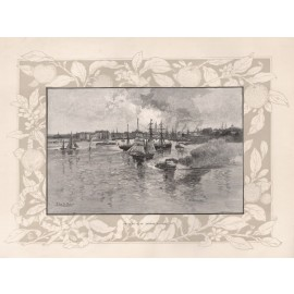 Circular Quay Sydney Harbour Wood engraving Schell