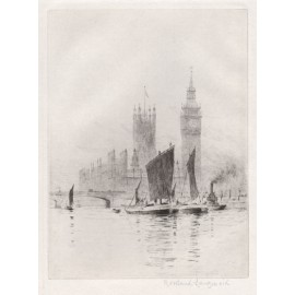 Thames Westminster etching Rowland Langmaid