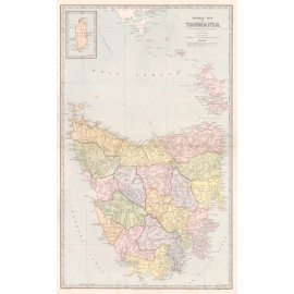 general map of tasmania antique map
