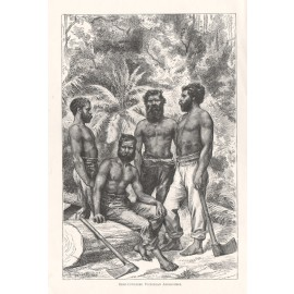 Semi Civilised Victorian Aborigines engraving 1886