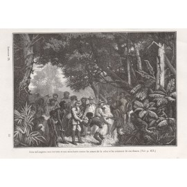 Exchanging goods aborigines engraving Deschamps