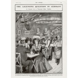 beer hall drinking antique old german print