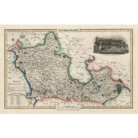 berkshire english county slater antique map