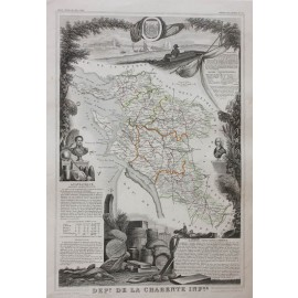 charente inferieure levasseur french department antique map