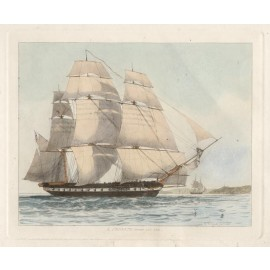 Frigate Edward Cooke colour  ship engraving