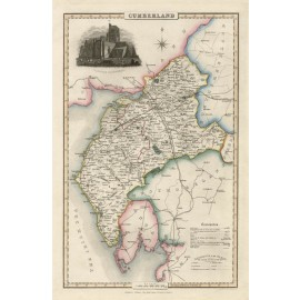 cumberland english county slater antique map