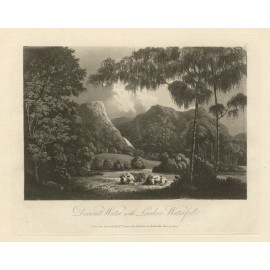 Lake District Derwent Water Green antique engraving