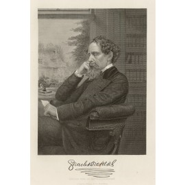 Charles Dickens portrait engraving print author