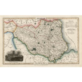 durham english county slater antique map