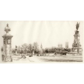 Buckingham Palace Mall signed etching Frederick Farrell London