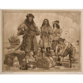 Treasure Chest James Flett signed etching pirates