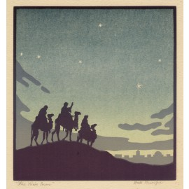 The Wise Men John Hall Thorpe colour woodcut
