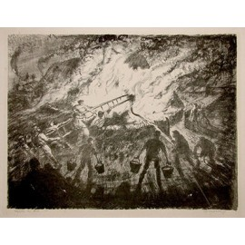 Hayrick on Fire lithograph Archibald Hartrick