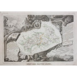 hautes alpes levasseur french department antique map