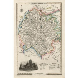herefordshire english county slater antique map