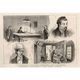 Melbourne Illustrated Chinese Quarter engraving Graphic 1880