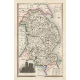 lincolnshire english county slater antique map