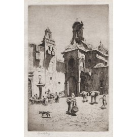 St Jago Antequera etching Lionel Lindsay